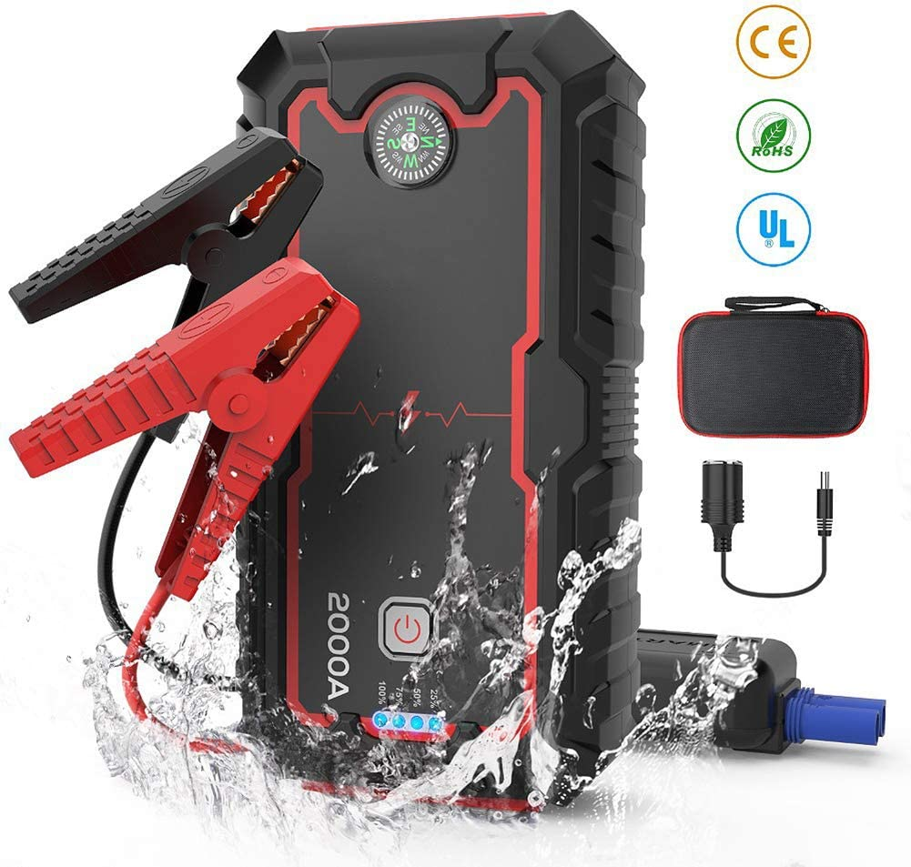 LED Flashlight WSJMJ Car Jump Starter Power Pack with Double USB Charging Up To 8.0L 12V Multifunction Auto Battery Charger and 22000mAh 2000A Portable External Car Jump Starter