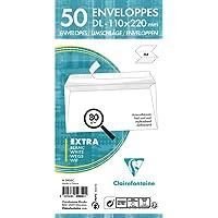 Clairefontaine 5935C Enveloppes DL-110x220mm Blanc 80g, bande auto-adhésive, Paquet de 50