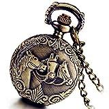 Lancardo Special Vintage Design Bronze Horse Pattern Cover Pocket Watch Full Hunter Unisex with Gift Bag