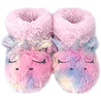 Dream Bridge Kids Plush Slippers with Warm Plush Fleece Indoor Outdoor Slip-on Booties Fluffy Boots Colourful Unicorn for Girls