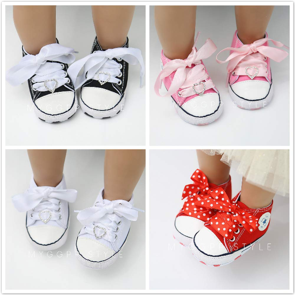 BiBeGoi Infant Baby Boys Girls Canvas Shoes Lace Up Sneakers Anti-Slip Soft Sole First Walkers Shoes 0-18 Months