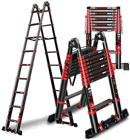 Escalera telescópica Multiusos con Barra de Soporte, Escalera de extensión de Aluminio Profesional for la Oficina de Home Loft, 3.3m-66.5m (Size : 3.3m/10.82ft(1.7m+1.7m)): Amazon.es: Hogar