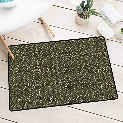 (Personalized Welcome Doormat, Abstract, Sea of Geometrical Patterns Wave Design Dots and Lines Square Motifs, Olive Green Black White, 35