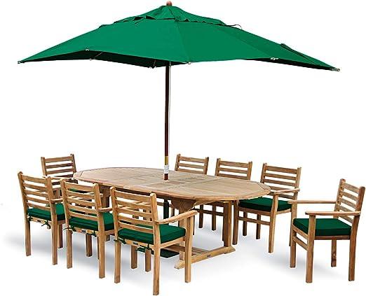 Juego de utensilios para comer al aire libre con ojales de acero extensible mesa 8 sillas apilables con los oídos, para sombrilla y base jardín - marca, calidad y valor: Amazon.es: Jardín