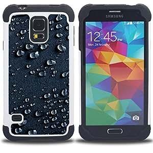 For Samsung Galaxy S5 I9600 G9009 G9008V - Water Drops Rain Moisture Droplet Art Surface Dual Layer caso de Shell HUELGA Impacto pata de cabra con im????genes gr????ficas Steam - Funny Shop -