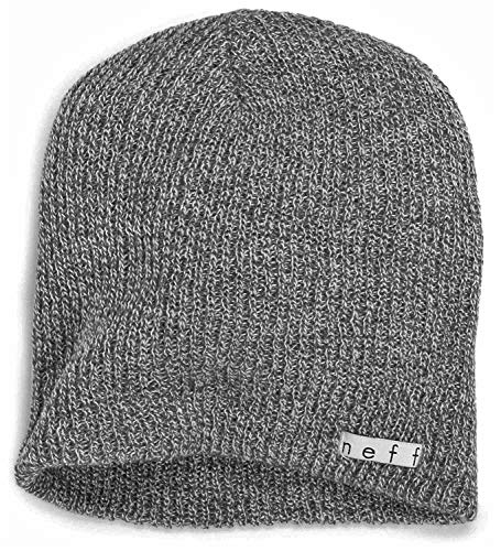 Gray Mens Beanie - Neff Unisex Daily Beanie, Warm, Slouchy, Soft Headwear, Grey, One Size