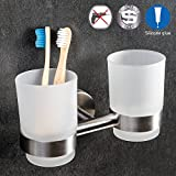 Wonder Worker DALE Double Toothbrush Holder with Two Glass Tumbler Bathroom Organizer Glue Wall Mountable 7 X 4.3 X 4.1