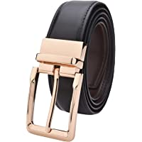 Labnoft Men's Reversible PU Leather Belt with Auto Turning Buckle, Black and Brown, Free Size