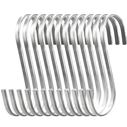 10 Piezas Ganchos Colgantes en Forma de S, Ganchos Planos de Acero Inoxidable para Ollas