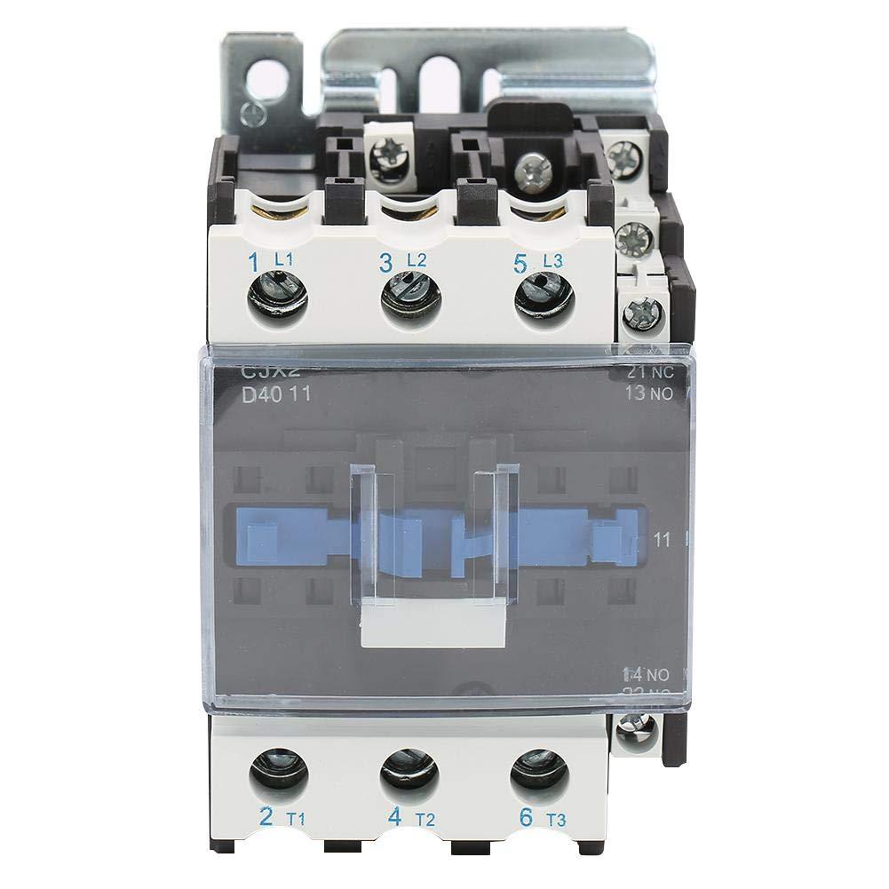 Akozon AC Contactor CJX2-4011 High Sensitivity Industrial Electric AC Contactor 220V 40A