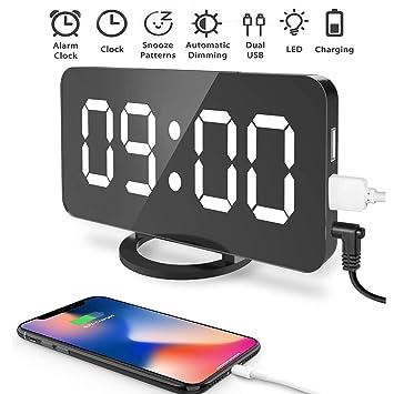 Souleader Despertadores Digitales LED Despertador Electrónico, Espejo Reloj Digital Moderno con Función de Alarma y Dual USB Puertos, Snooze y Memoria ...