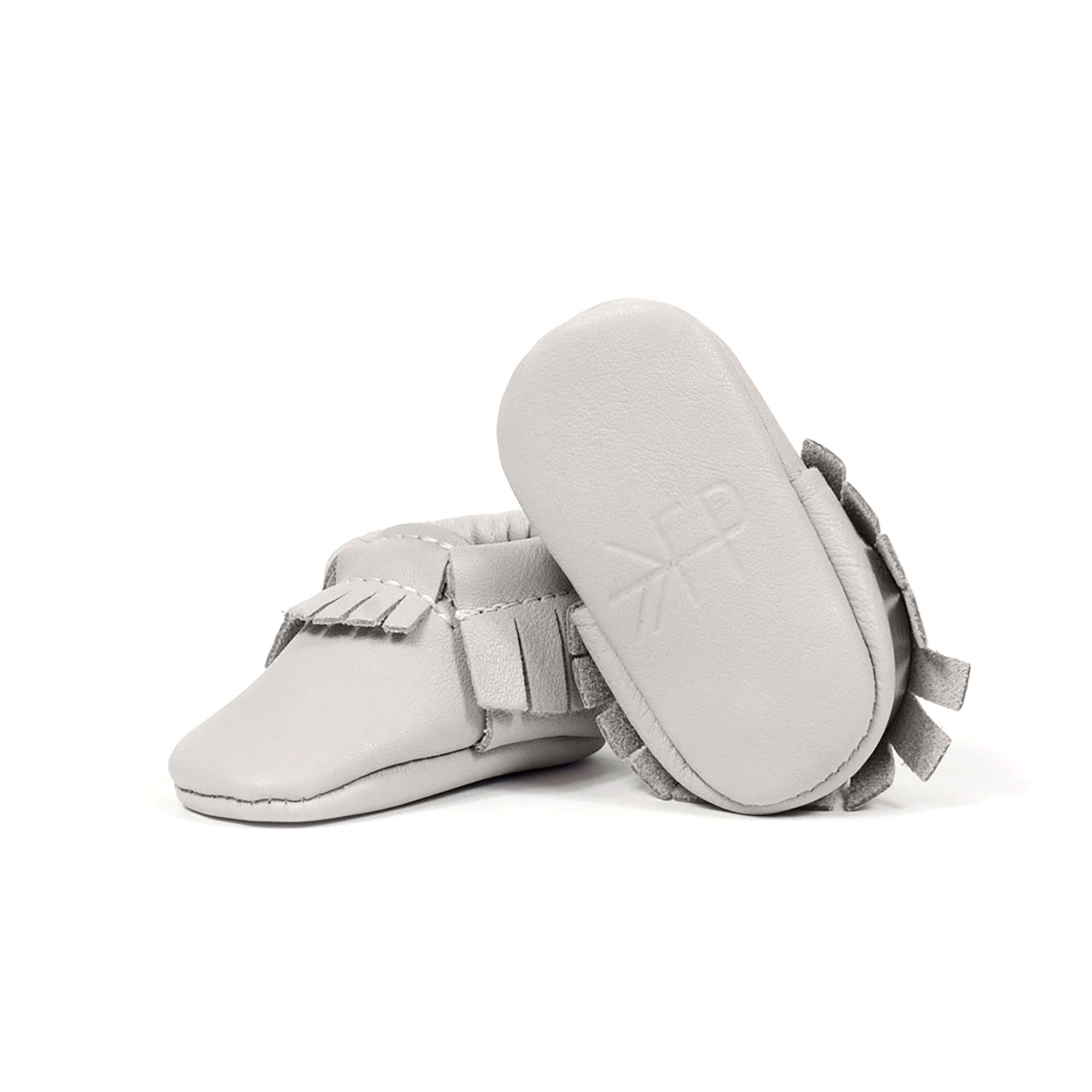 Freshly Picked - Soft Sole Leather Moccasins - Newborn Baby Girl Boy Shoes - Size 0 Cashmere Gray by Freshly Picked