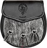 MacRurie Semi Dress Sporran Fur Plain Leather Flap Scottish Clan Crest