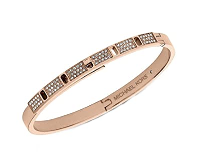 5454ed45e90f9 Image Unavailable. Image not available for. Color  MICHAEL KORS MKJ4015 Rose  Gold Tone Glitz and Turnlock Bangle Bracelet