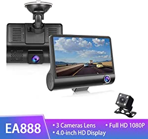 Car DVR 3 Cameras Lens 4.0 Inch IPS Dash Camera Dual Lens with Rearview Camera Video Recorder Auto Registrator Dvrs Night Vision