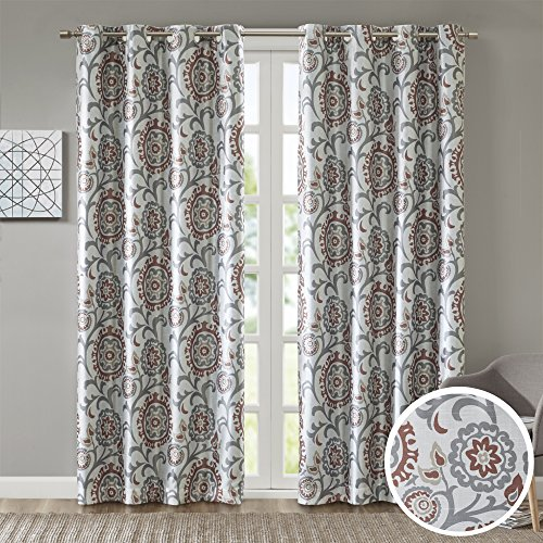 Room Darkening Curtains for Bedroom - Printed Floral Lisbeth Window Curtains Pair - Brick Red - 42x84 Inch Panel - Energy Saving Black out Window Curtain - Grommet Top - Include 2 Panels (Brick Commercial Light)