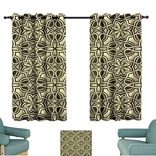 Straight Fabric Partition Panel - Warm Family Noise Reduction Curtain Seamless Wallpaper Stylized Like Gold or Bronze Grid Set of Two Panels