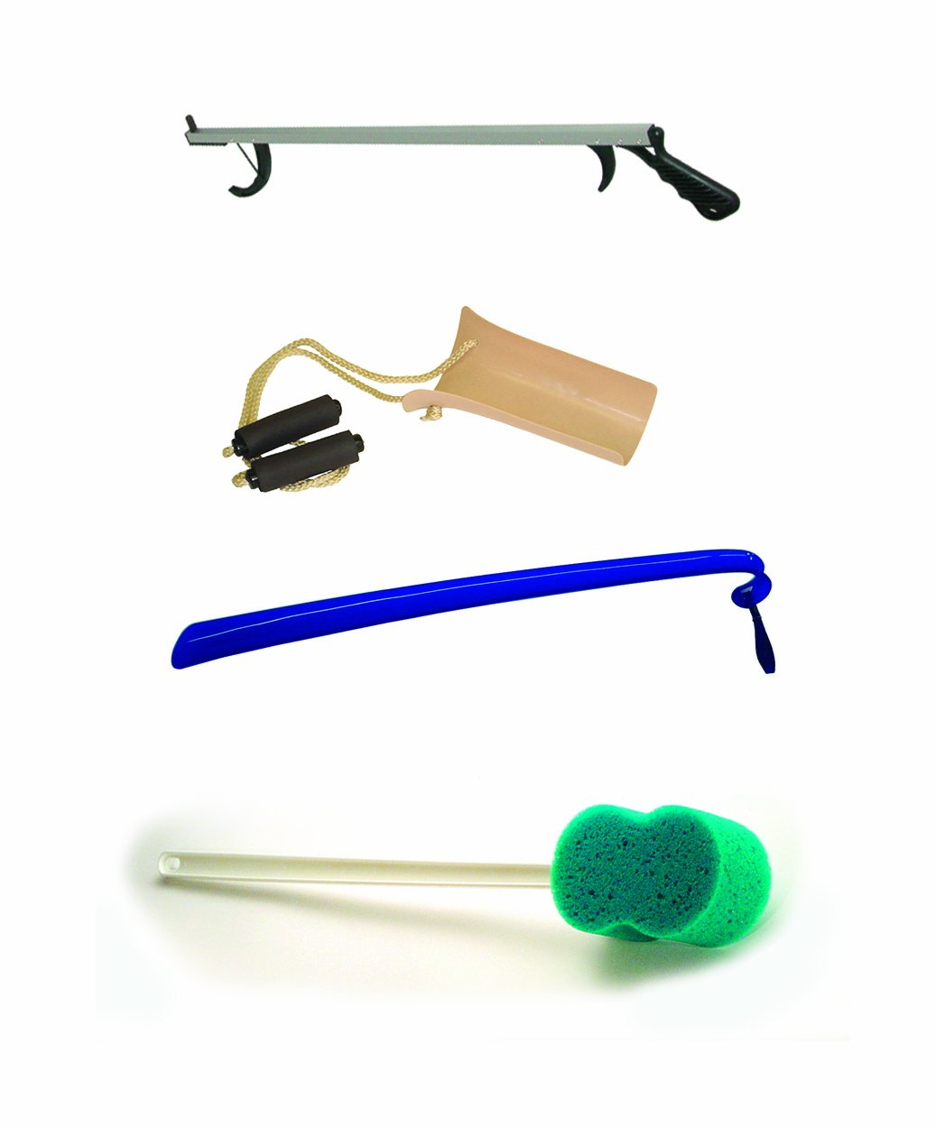 4 Piece Hip Kit with 32� Aluminum Reacher, Shoehorn, Formed Handle Sock Aid & Bath Sponge # 2286T