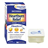 Enzymedica Heartburn Relief, Antacid to Help Soothe Indigestion, 90 Heartburn Chews Vanilla-Orange Bundle with a Lumintrail Pill Case