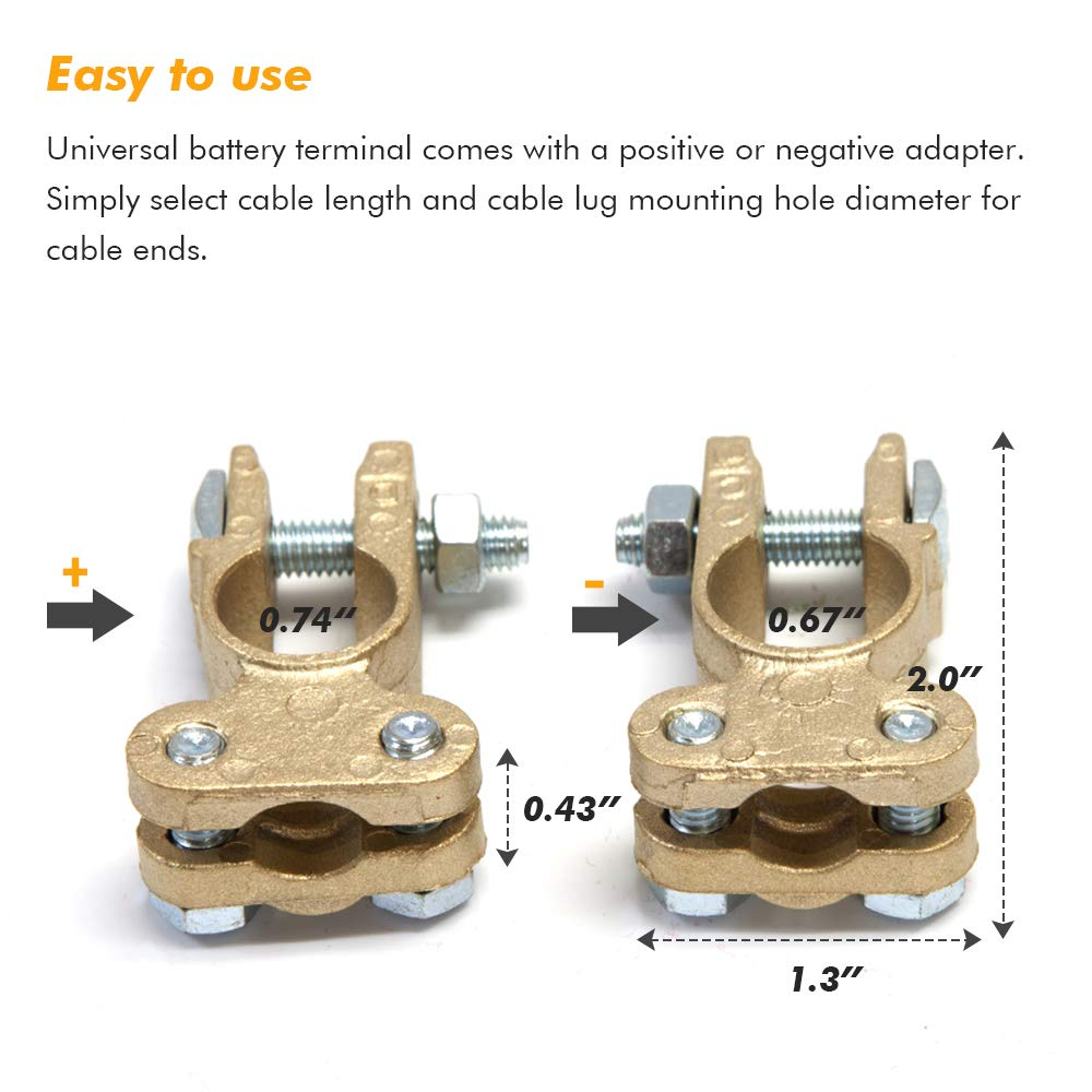 2 PCS Battery Terminal Sets Positive and Negative Connectors Clamps for Car Battery Truck Van Marine Boat