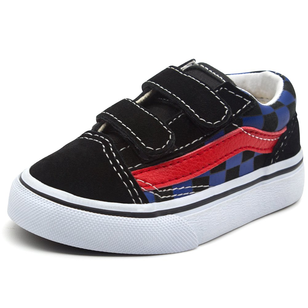 Baone Tommy Toddler Shoes for Boys Girls Fashion Velcro Sneakers Unisex Babys Canvas Shoes Slip on Tennis Shoes Casual Kids Skate Shoes, Black Red, 11