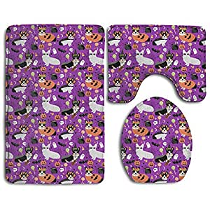 Tri-Colored Corgi Halloween Costumes 3 Piece Bathroom Rug Set Non-Slip Contour Mat Toilet Seat Cover Washable