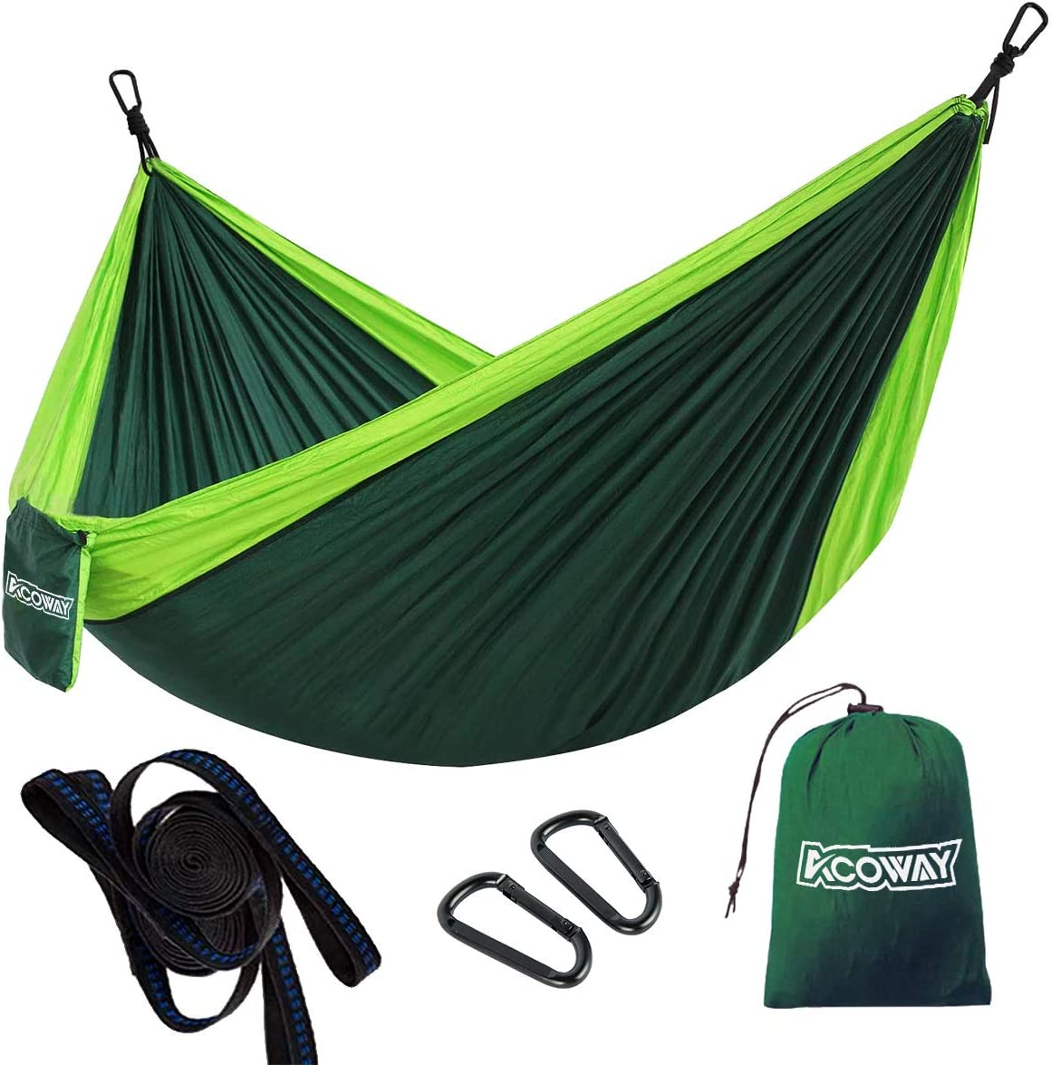 Hammock Camping Double, Hammocks for Trees with 2 Tree Straps, Camping Hammock Lightweight Travel Parachute,Indoor Outdoor Double hammock Backpacking for Travel, Beach, Backyard, Patio, Hiking,Green