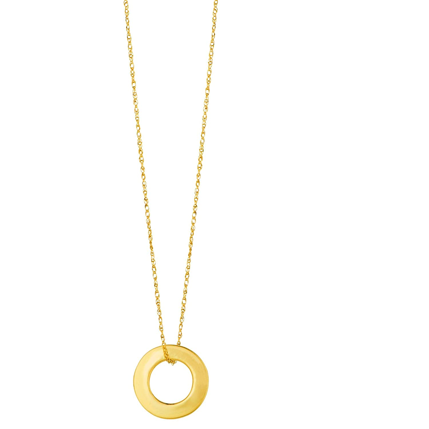 14K Yellow Gold Shiny Cable Link Chain 18 with Spring Ring Clasp and Open Circle Pendant by IcedTime