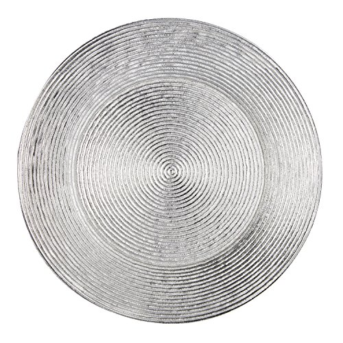 FANTASTIC :)  Round 13 Inch Plastic Charger Plates with Eletroplating Finish (1, Shinny Circle Silver)