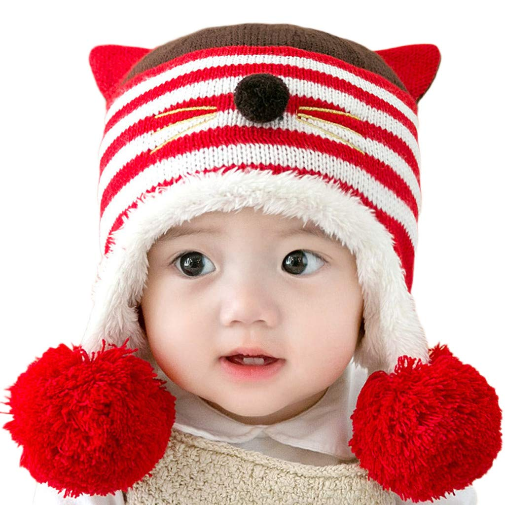 Ankola Earmuffs Hat Baby Toddler Winter Cute Cat Ear Earflap Hair Ball Beanie Hat