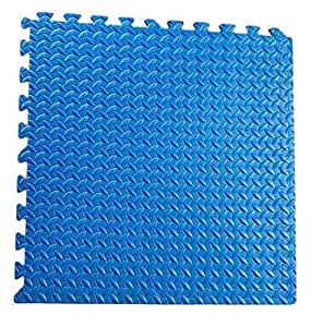 ZTMTOYs Interlock EVa Foam Floor Mat 100cmx100cmx1.5cm Blue Color Plain Exercise Puzzle Mat for kids activity.