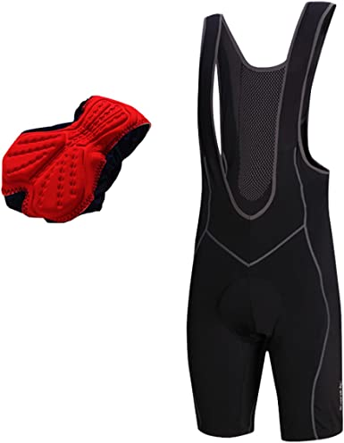 SANTIC Men/'s Cycling Bib Shorts Bike Cycling Pants Black Red with Padded