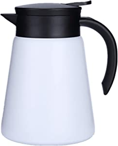 JOYSIP 27oz Stainless Steel Thermal Coffee Carafe Thermos with Handle, Double Walled Vacuum Insulated Pot for Hot Water, Tea, Coffee, 12 Hour Heat Retention, 800ml (WHITE)
