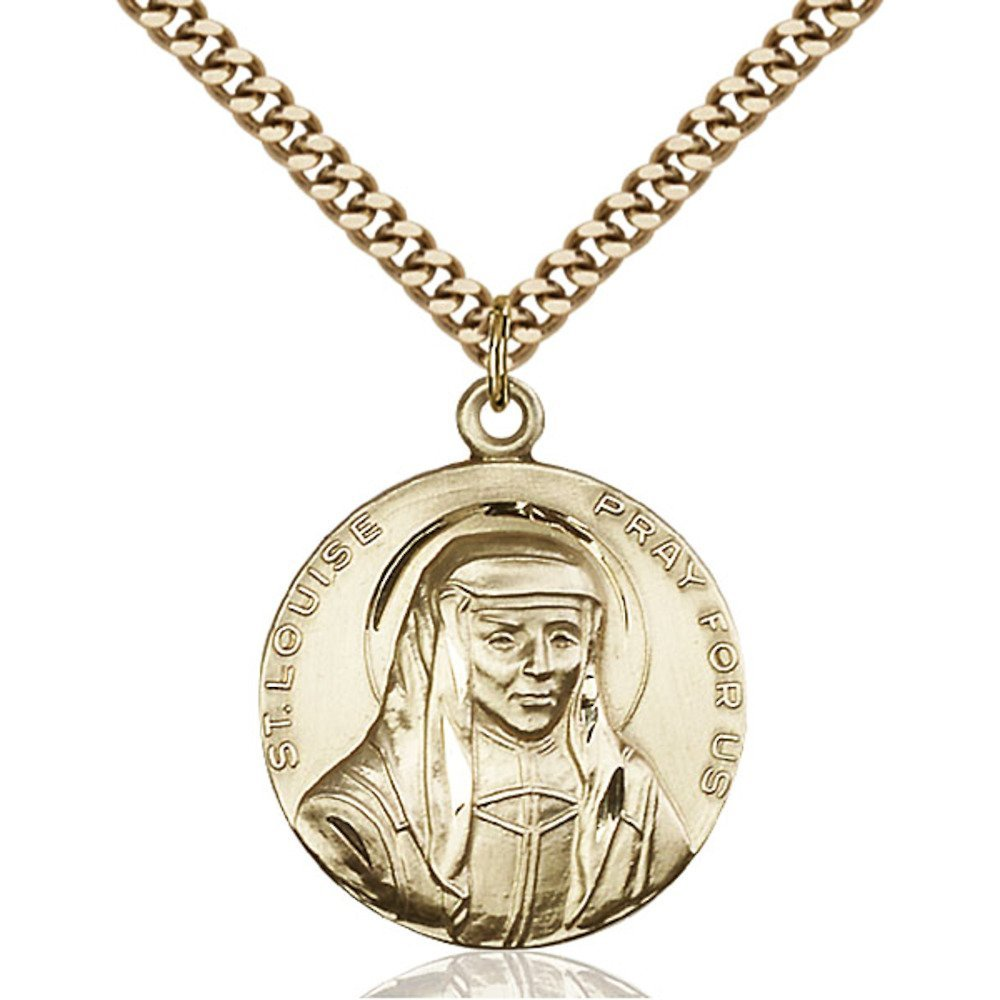 Gold Filled St. Louise Pendant 1 x 7/8 inches with Heavy Curb Chain by Bonyak Jewelry Saint Medal Collection