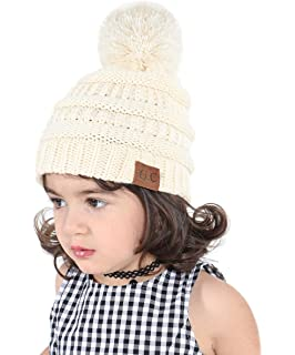 e2bccc46 Kids Bobble Hat Warm Winter Pom Hat Toddlers Knitted Beanie Hat for Baby Girls  Boys Children