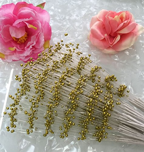 100 Stems Faux Pearl Spray Beads Wire Stems Wedding Bridal Flower Bouquet Party Table Decor (Gold)