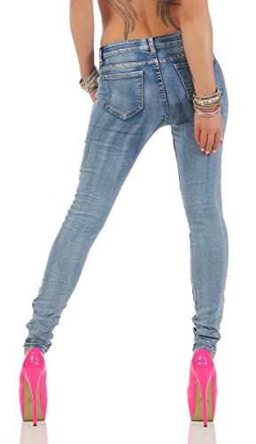 11163 Fashion4Young Knackige Damen Röhrenjeans Jeans Hose Stretch-Denim  Skinny Cut-outs (M=38, blau): Amazon.de: Bekleidung