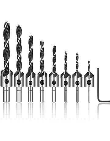 Estmoon 8 piezas Juegos de brocas Avellanador broca set para acero, aluminio, madera y