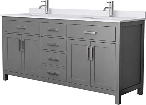 Beckett 72 Inch Double Bathroom Vanity In Dark Gray White Cultured Marble Countertop Undermount Square Sinks No Mirror Amazon Com
