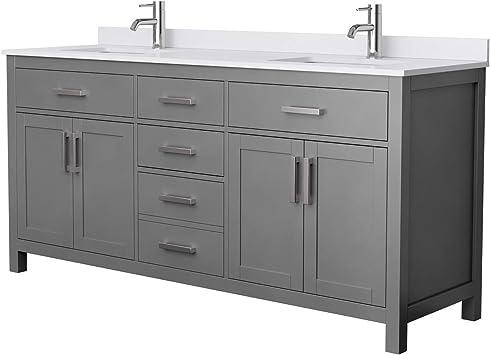 Beckett 72 Inch Double Bathroom Vanity In Dark Gray White Cultured Marble Countertop Undermount Square Sinks No Mirror Amazon Com