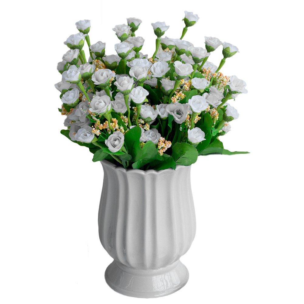 Finance Plan クリアランスセール 1ブーケ 18本 造花 バラの花 ウェディングパーティー ロマンチック ルームデコレーション ホワイト M0JRE5ET6V49 B07GZ7W7CP ホワイト