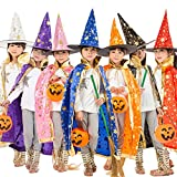 Dertring Halloween Costume Children Cloak with Hat Pumpkin Bucket Set