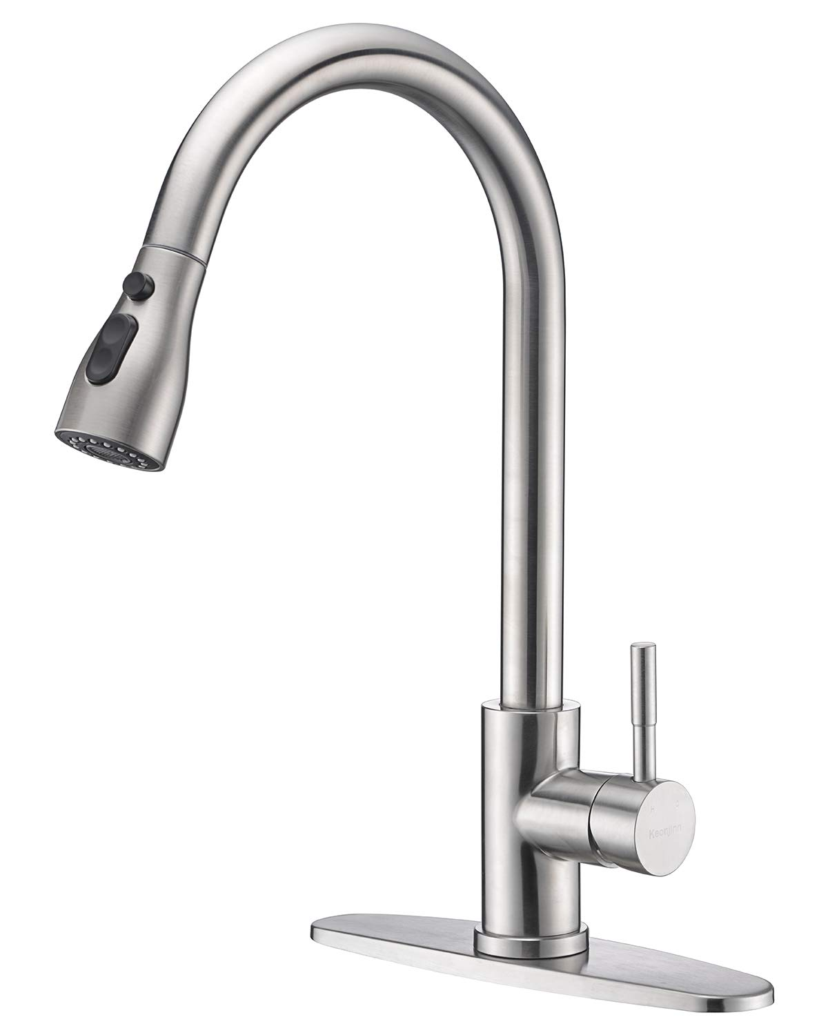 Keonjinn High Arc Single Handle Pull out Brushed Nickel Kitchen Faucet,Single Level Stainless Steel Kitchen Sink Faucets with Pull down Sprayer