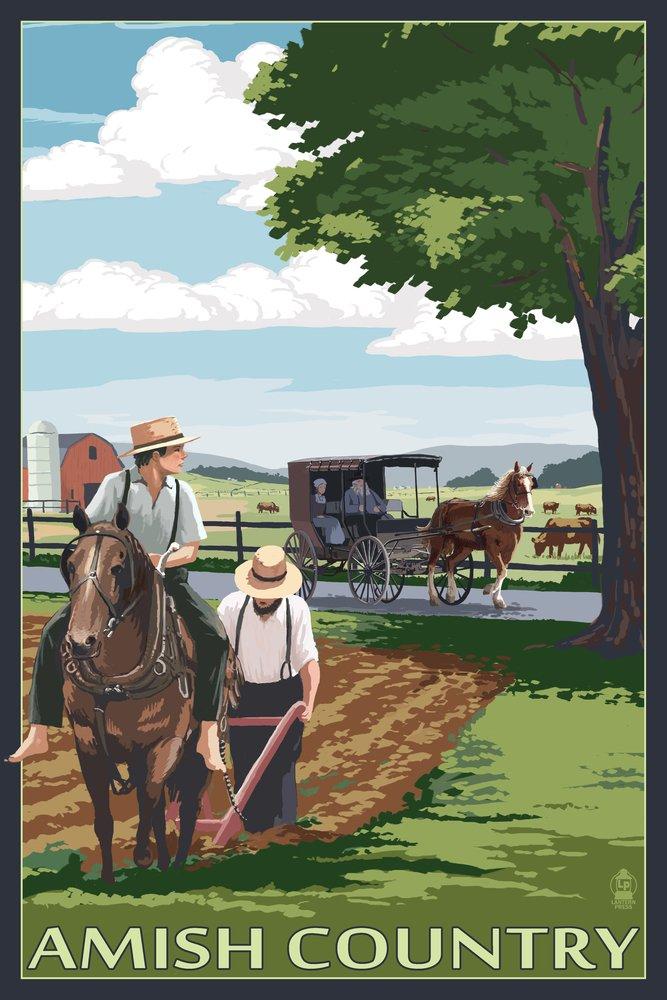 Amish国 – フィールドシーン 36 x 54 Giclee Print LANT-52398-36x54 36 x 54 Giclee Print  B017E9W4IK