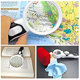 Fancii Illuminated LED Handheld Magnifying Glass Set - 2X 3.5X and 10X High Magnification Power – Best Lighted Magnifier for Seniors Reading, Hobby, Crafts, Computer Repair and Jewelry Loupe