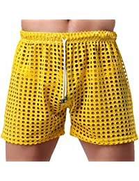 Mens Hollow Openwork Drawstring Bikini Cover up Boxer Briefs Shorts Swim Trunks