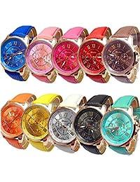 Wholesale Watches 10 Pack Fashion Ladies Women PU Leather Assorted Wrist Watch Set Roman Numerals Analog