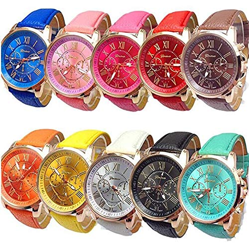 Weicam Wholesale Watches 10 Pack Fashion Ladies Women PU Leather Assorted Wrist Watch Set Roman Numerals Analog Quartz for Men Unisex Girls]()