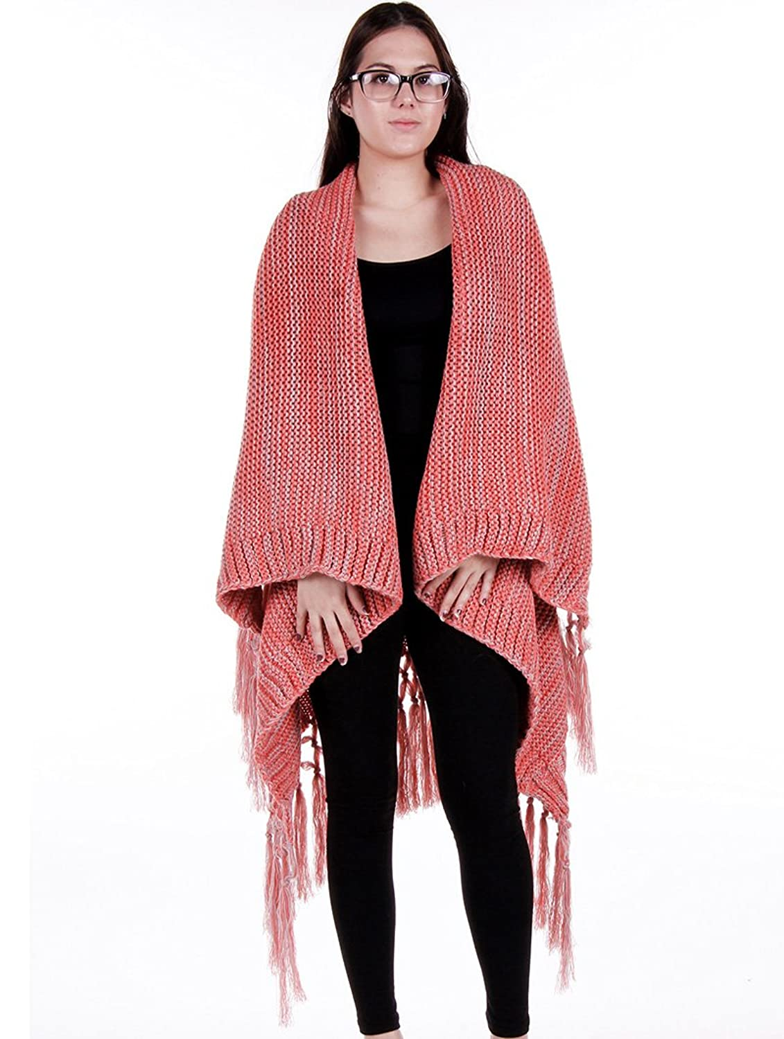 Parisian Chic Scarf Knitted Cape Poncho Tassel X Acrylic One Size Winter Knit pink