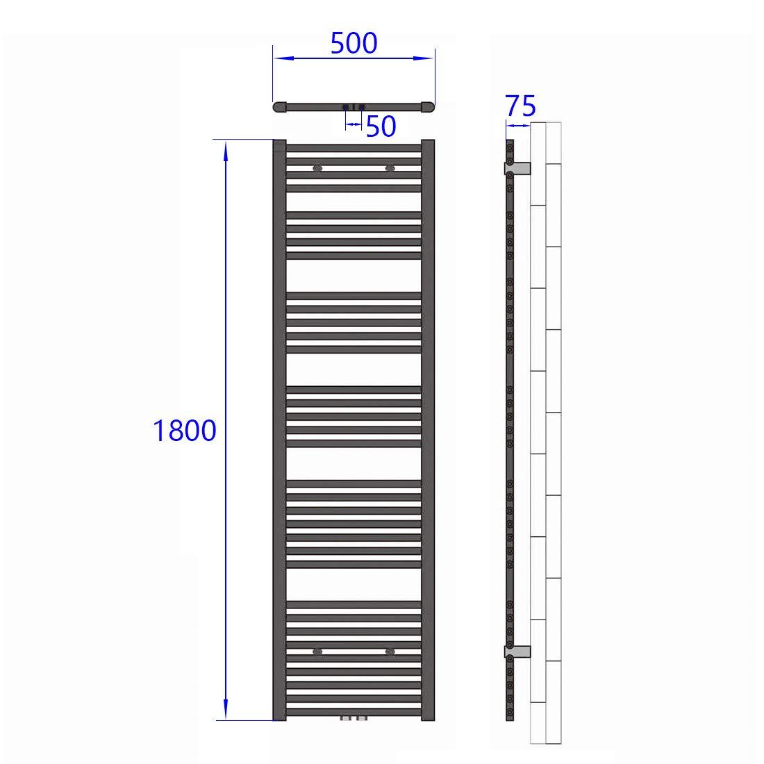 Handtuchtrockner Heizk/örper 50x120cm 643 Watt Leistung Antrazit Bad-Heizk/örper Bad Mittelanschluss Heizung